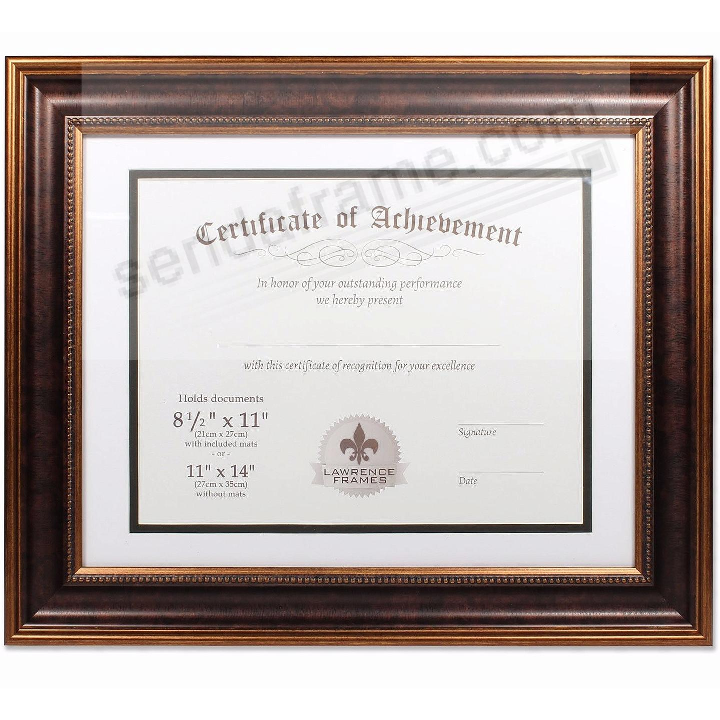 Dual Use Bronze Beaded Document Frame 14x11/11x8½ by Lawrence Frames®