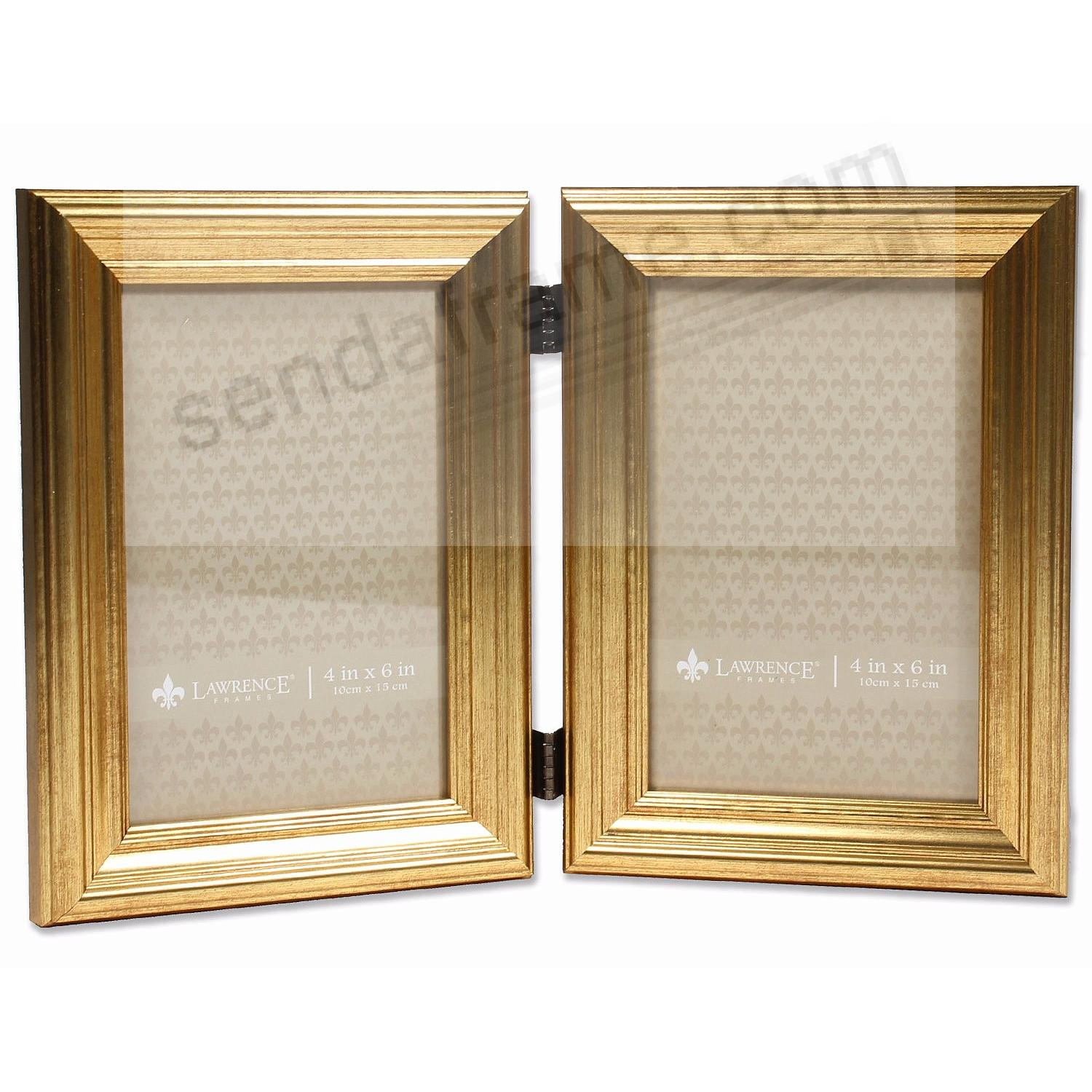 SUTTER Ridged Burnished Golden Hinged 4x6 Double - Picture Frames ...