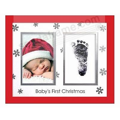 Babyprints® Boy/Girl Keepsake BABYS FIRST CHRISTMAS Kit White Oak wall presentation