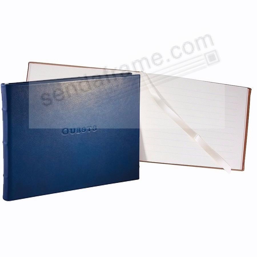 Elegant Blue Calfskin Leather GUESTS Book for a lasting record by Graphic Image®
