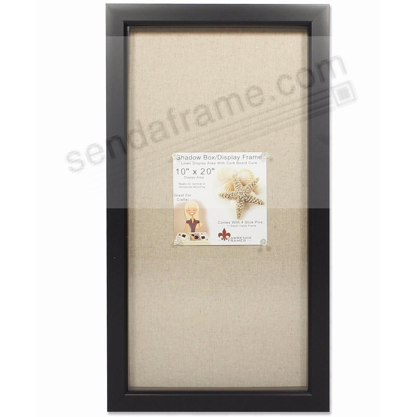 Black-stained 1-in deep craft linen-lined 10x20 ShadowBox by Lawrence®