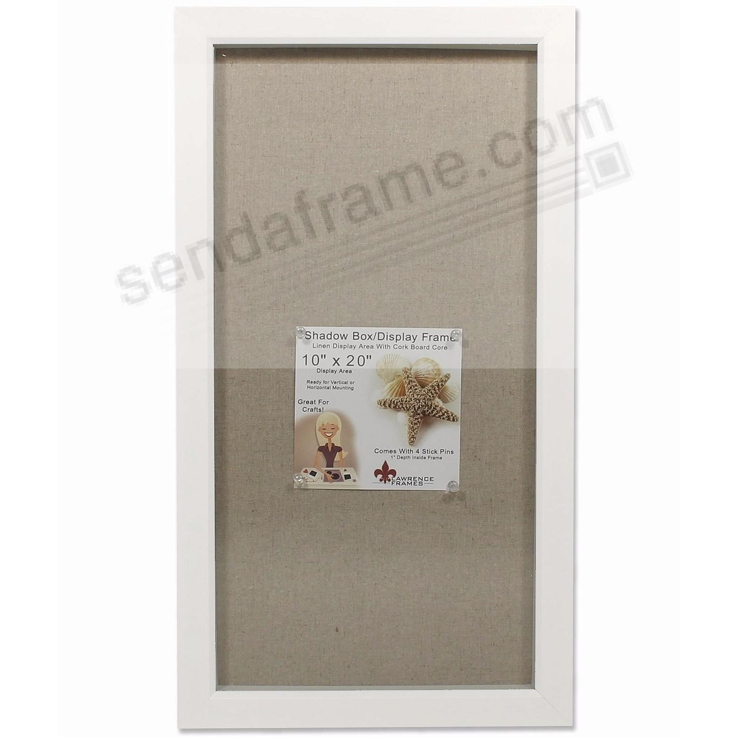 WHITE-stained 1-in deep craft linen-lined 10x20 ShadowBox by Lawrence®