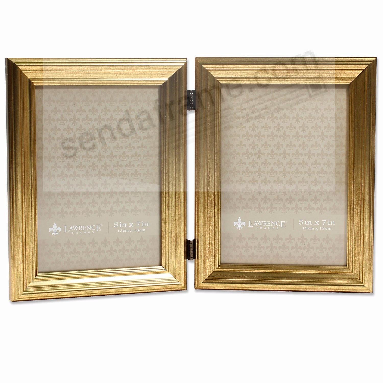 sutter double burnished gold composite wood 5x7 frame by lawrence - Double 5x7 Picture Frame