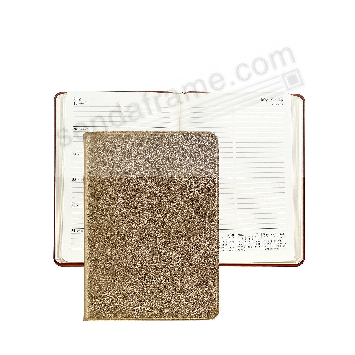 2020 Notebook Planner 7-in WHITE-GOLD METALLICS Fine Leather by Graphic Image™