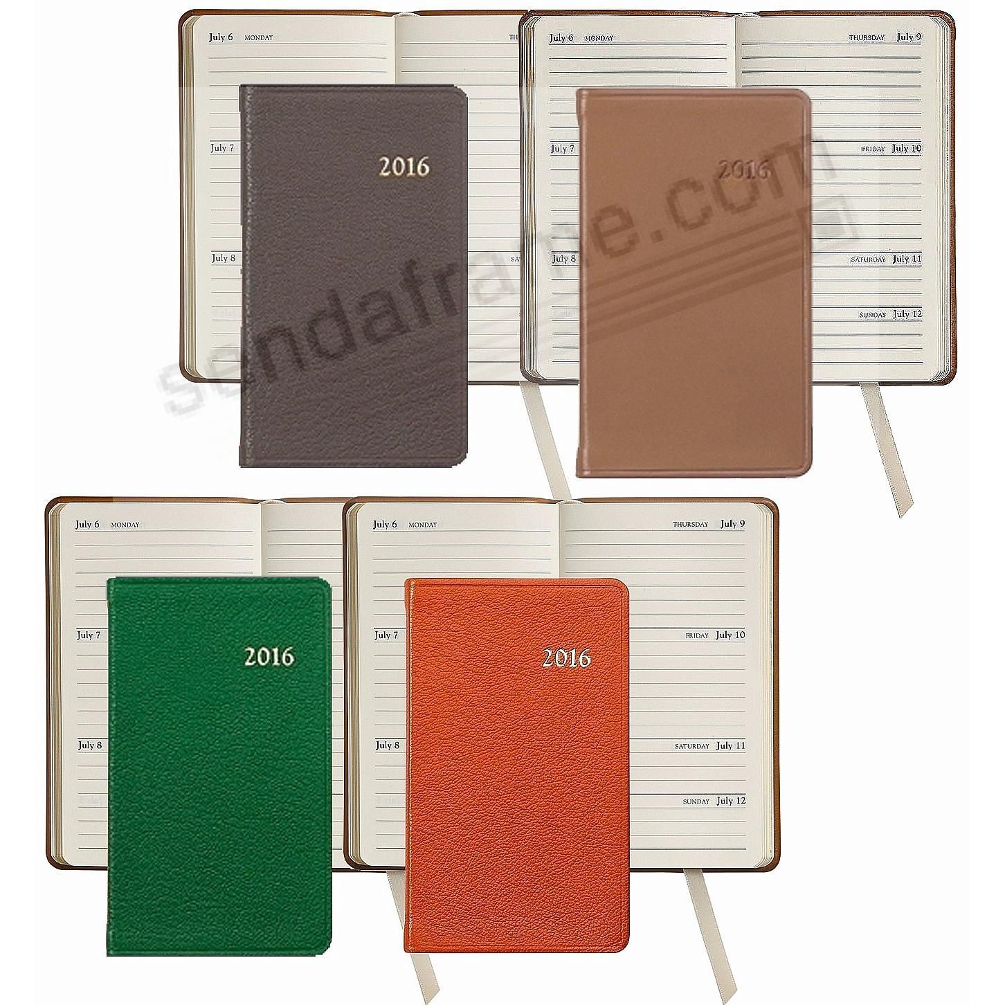2016 ASSORTED COLORS 5-inch Pocket Datebook Diary in Fine Leather by Graphic Image™