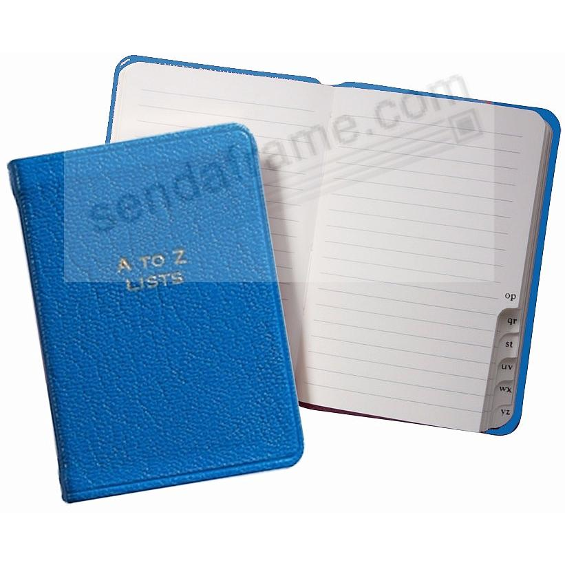 A-TO-Z LISTS Pocket Journal BLUE Fine Leather by Graphic Image™