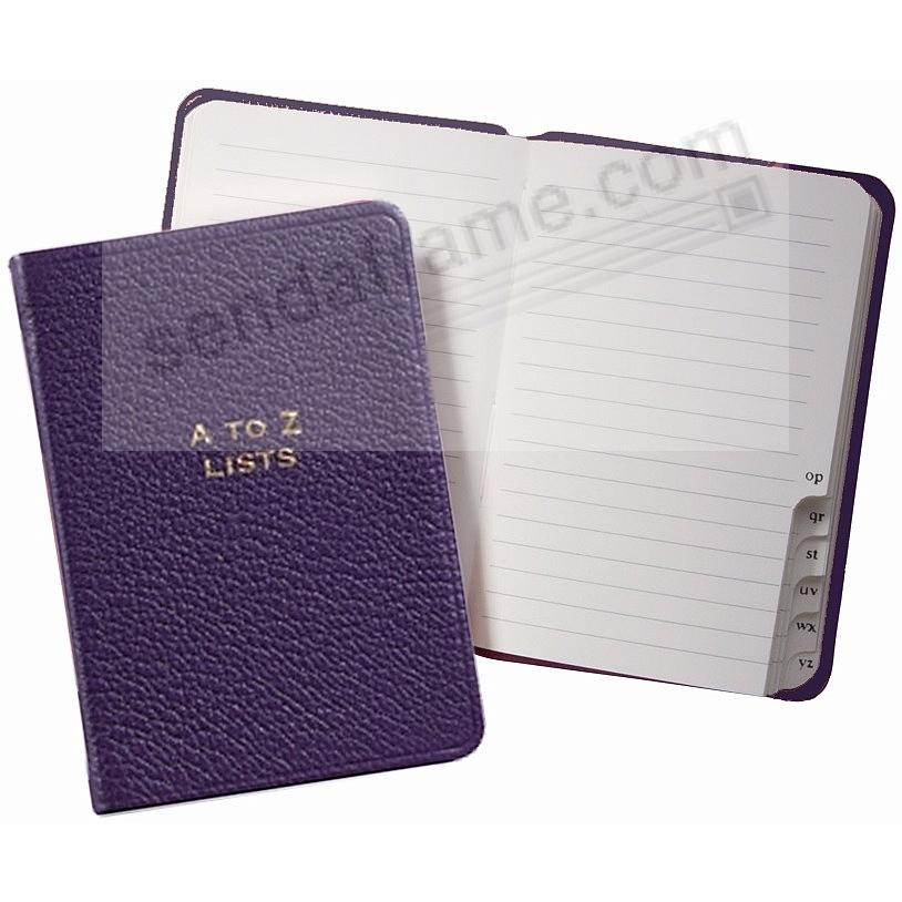 A-TO-Z LISTS Pocket Journal PURPLE Fine Leather by Graphic Image™