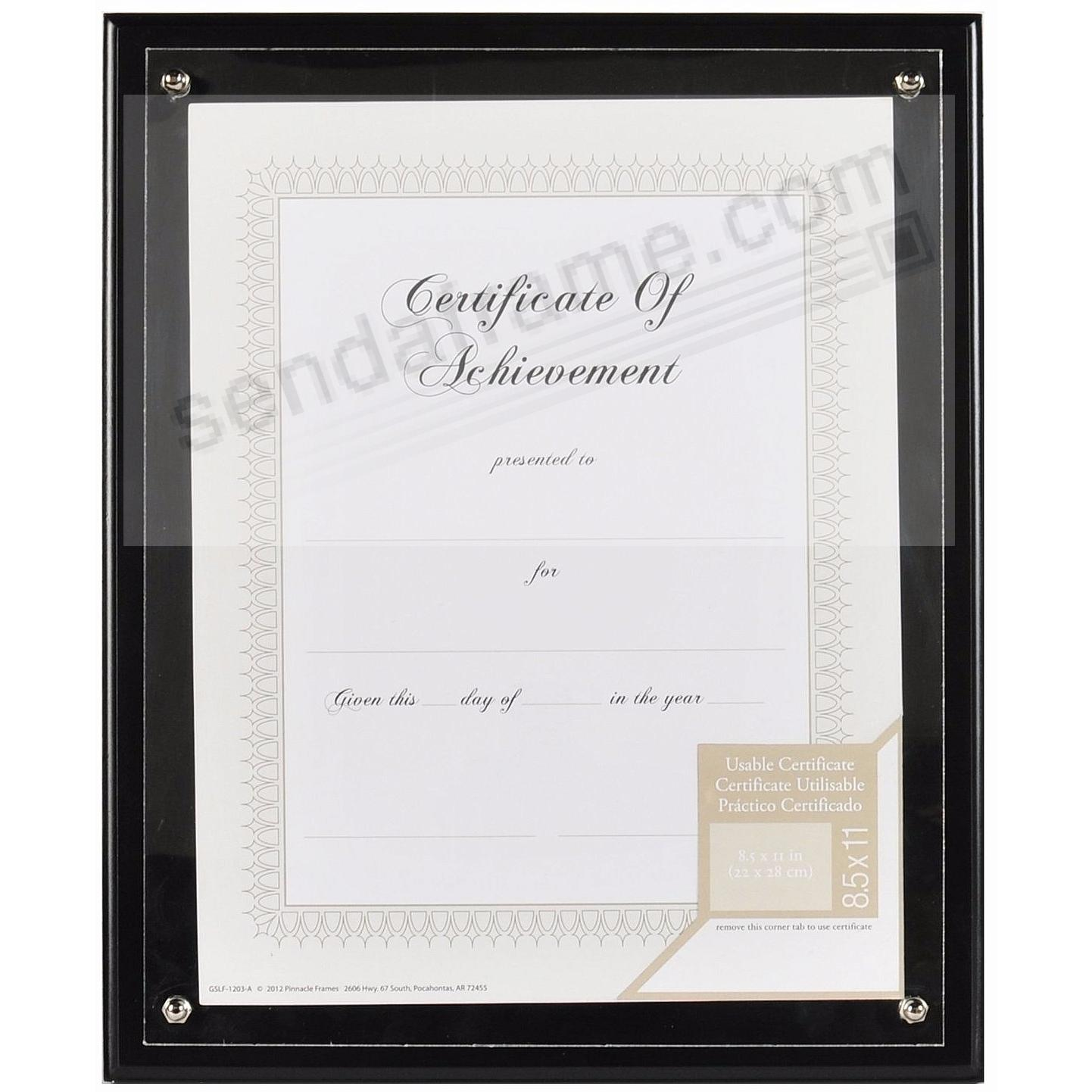 Black certificate PLAQUE-In-An-INSTANT w/acrylic lens by GALLERY SOLUTIONS®