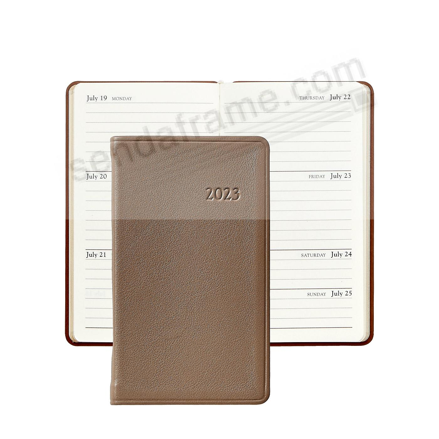 TAUPE 5-in Pocket Datebook Diary in Fine Leather by Graphic Image™