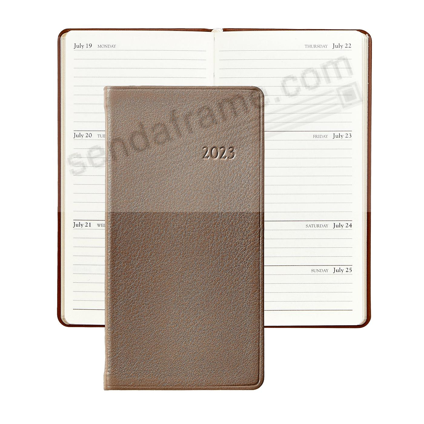 2018 TAUPE 6in Pocket Datebook Diary Goatskin Leather by Graphic Image™