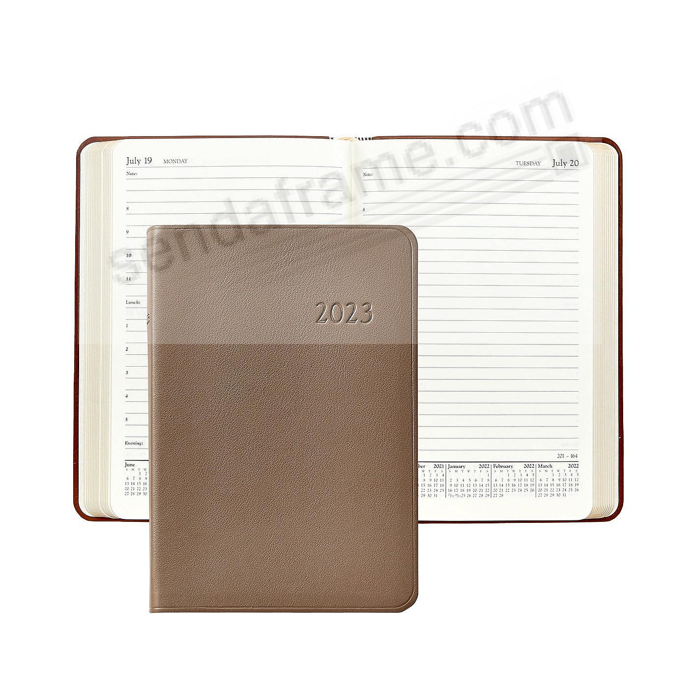 2018 TAUPE Goatskin leather Daily 8in Journal by Graphic Image™