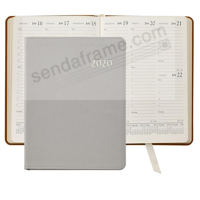 2019 GREY Goatskin Leather 9in Desk Diary by Graphic Image™