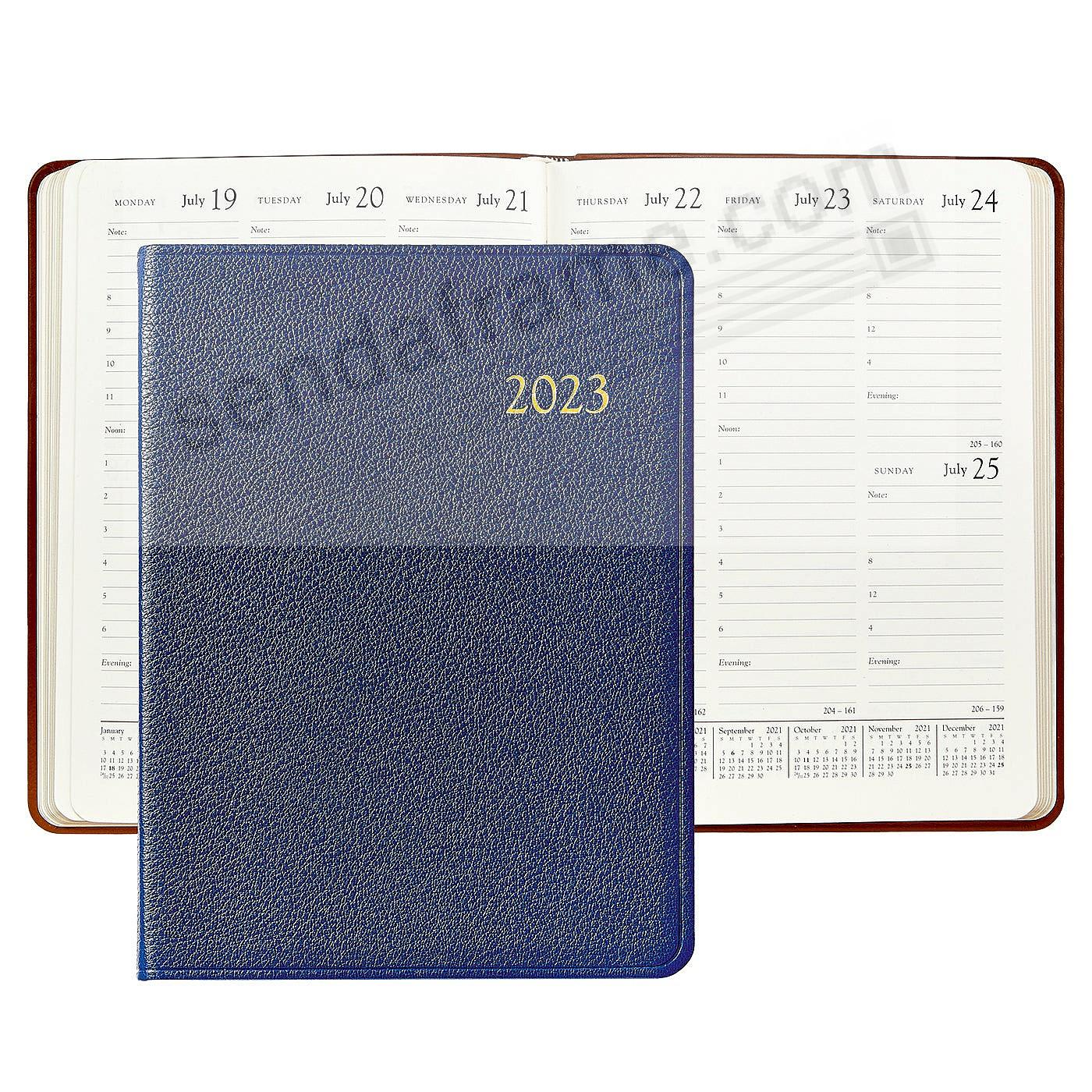 2018 INDIGO-BLUE Goatskin Leather 9in Desk Diary by Graphic Image™