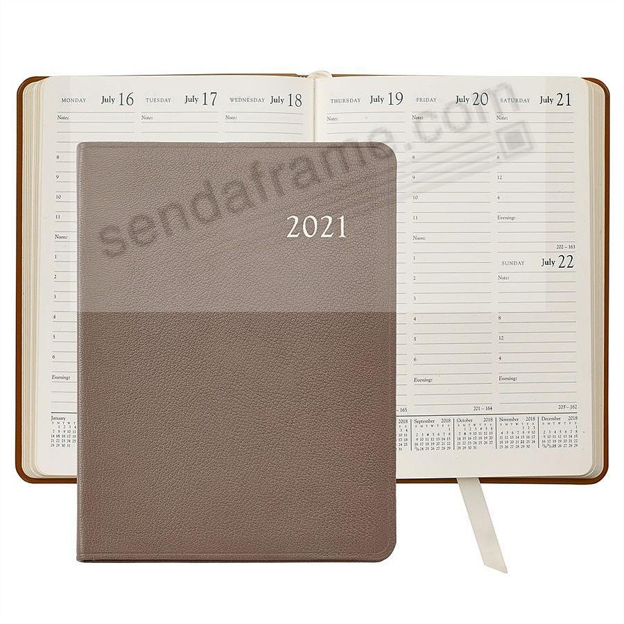 2021 TAUPE Goatskin Leather 9in Desk Diary by Graphic Image™