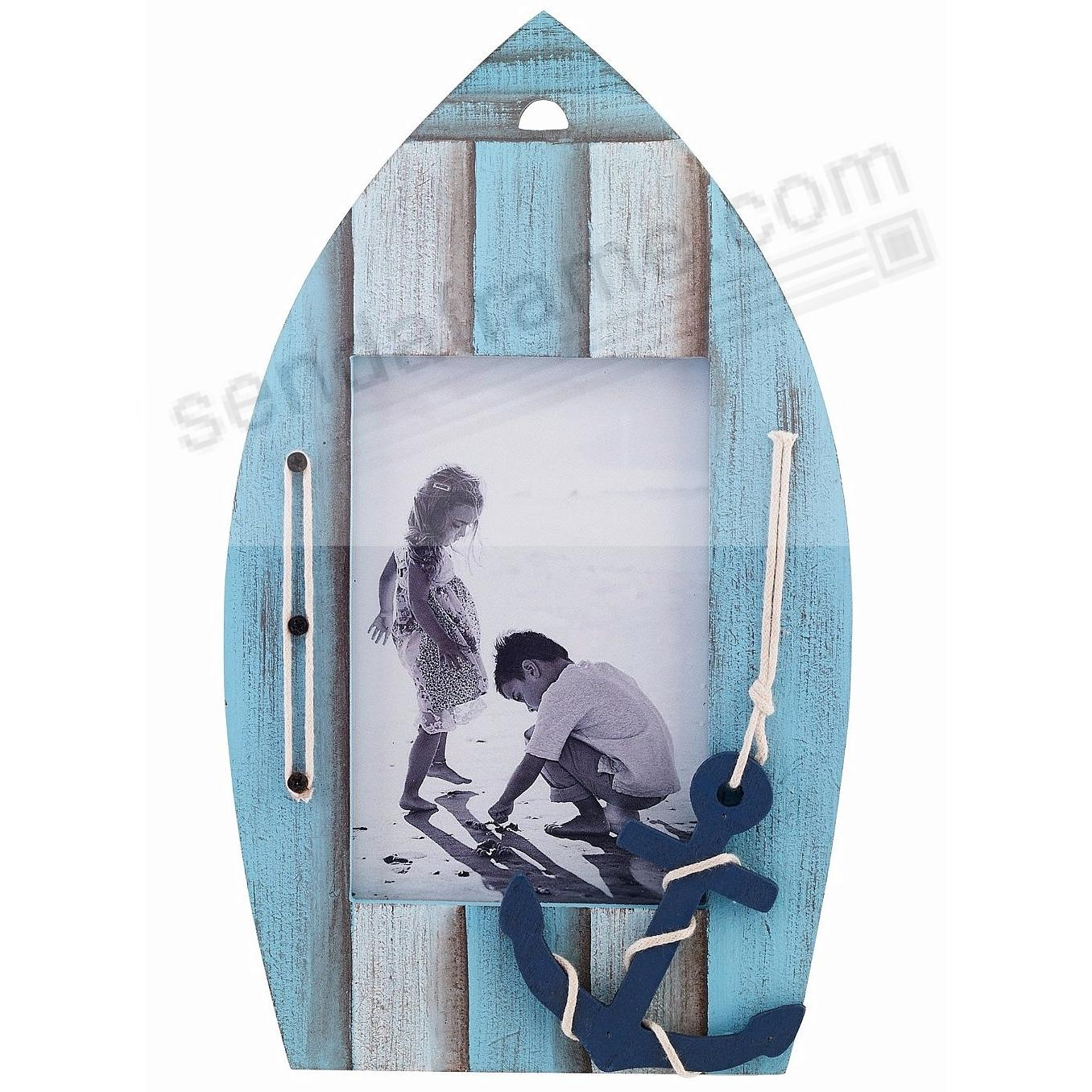 Weathered BLUE BOAT w/ANCHOR 4x6 Picture Frame by Lawrence®