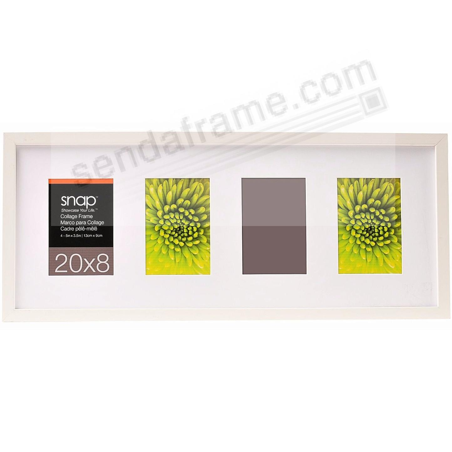 White Frame w/White Mat 20x8 / (4) 3½x5 by SNAP™ - Picture Frames ...