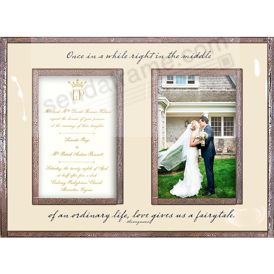 ONCE IN A WHILE ... LOVE GIVES US A FAIRYTALE Copper + Clear Glass Double Invitation Frame by Ben's Garden®