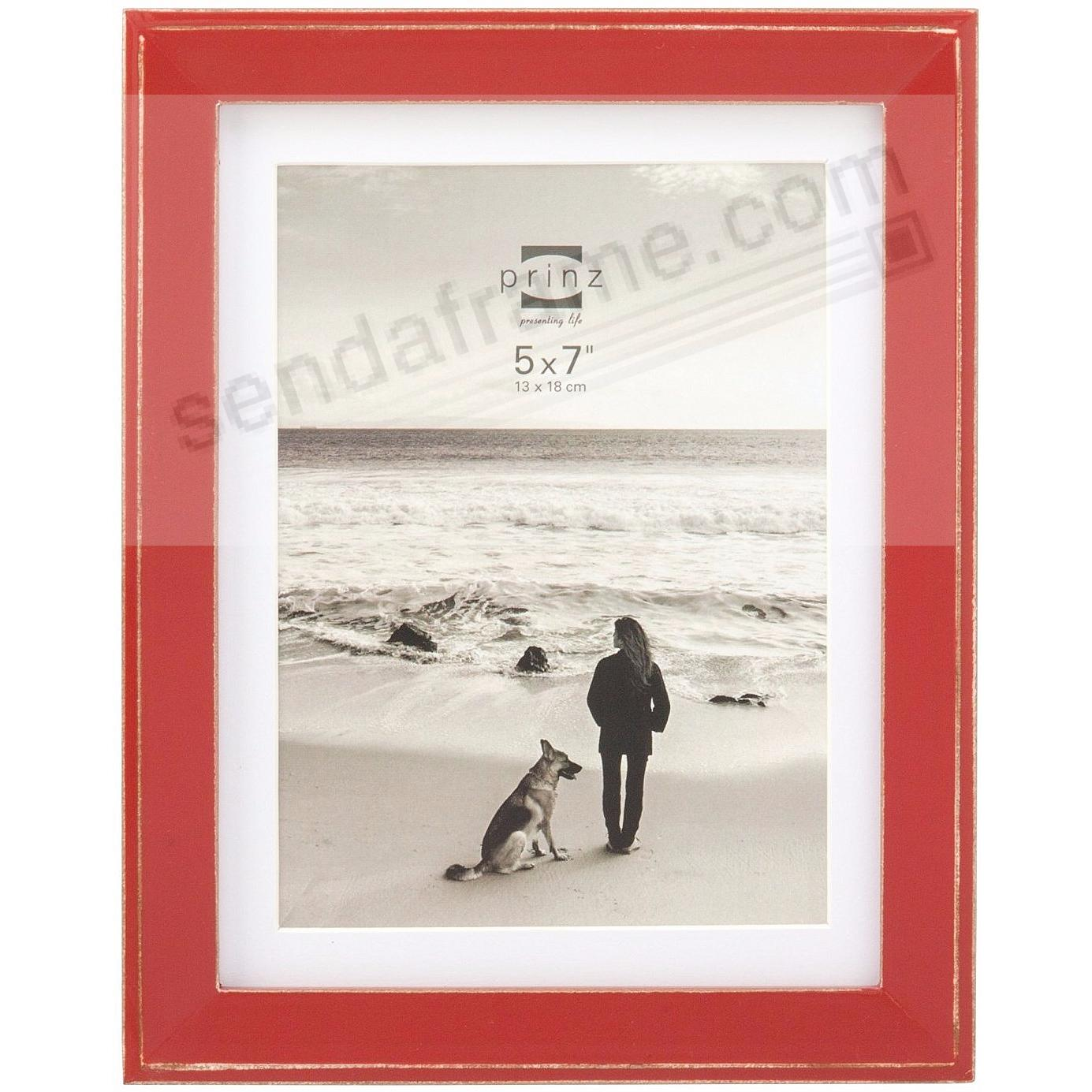 BURLINGTON Red 5x7 Frame with Sanded Edges + Mat by Prinz® - Picture ...