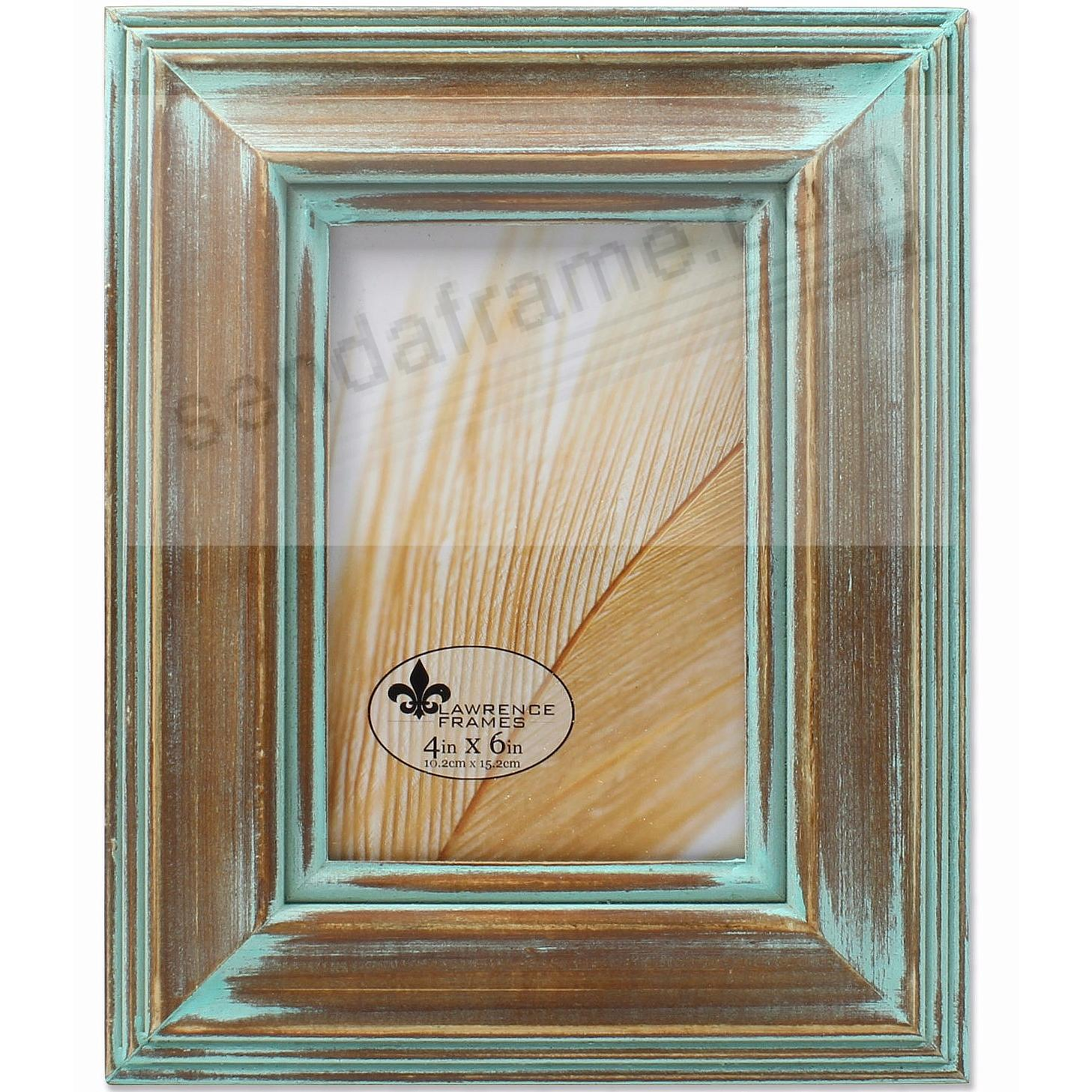 Weathered Wood with VERDIGRIS PATINA WASH 4x6 frame by Lawrence®