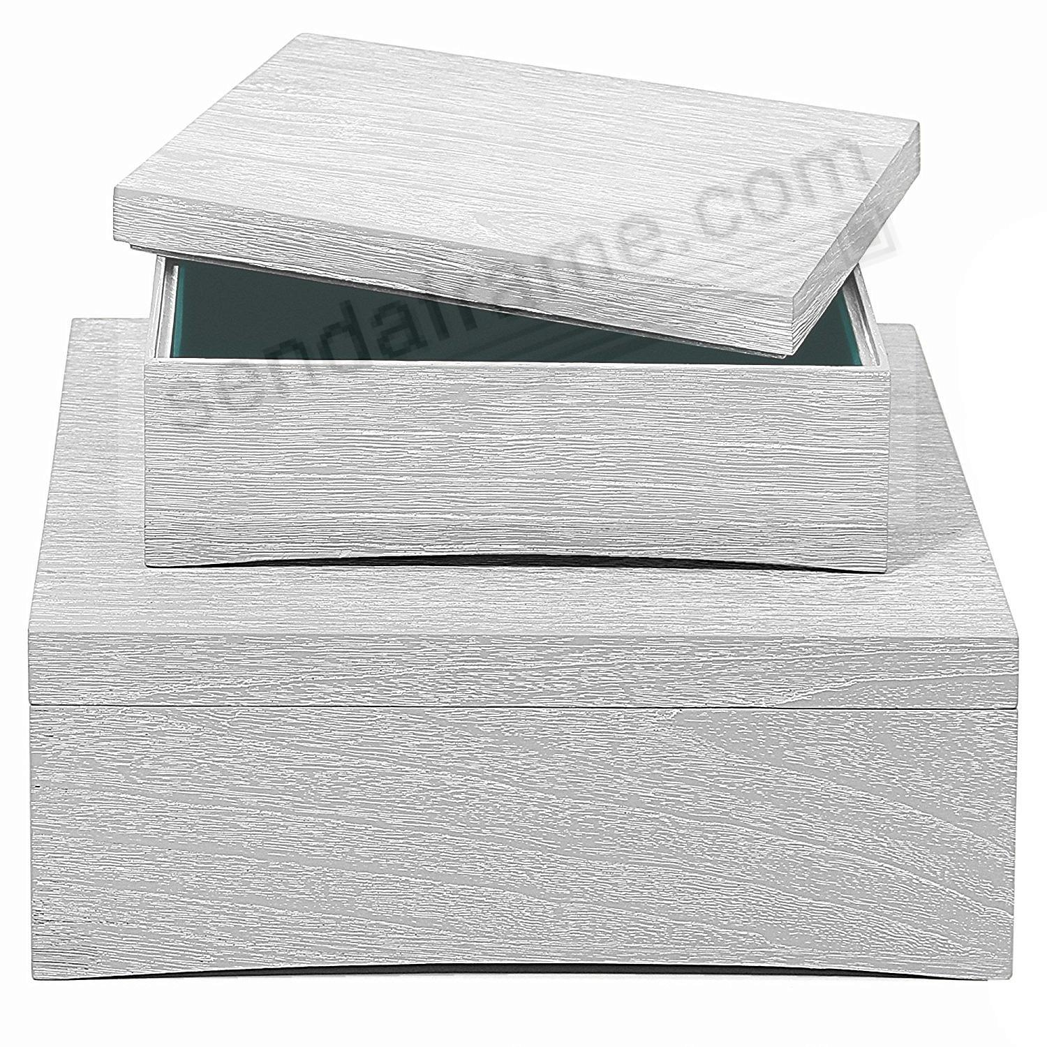 WOOD DRIFT STORAGE BOXES 14x14 LT GRAY by Swing Design® (set of 2)