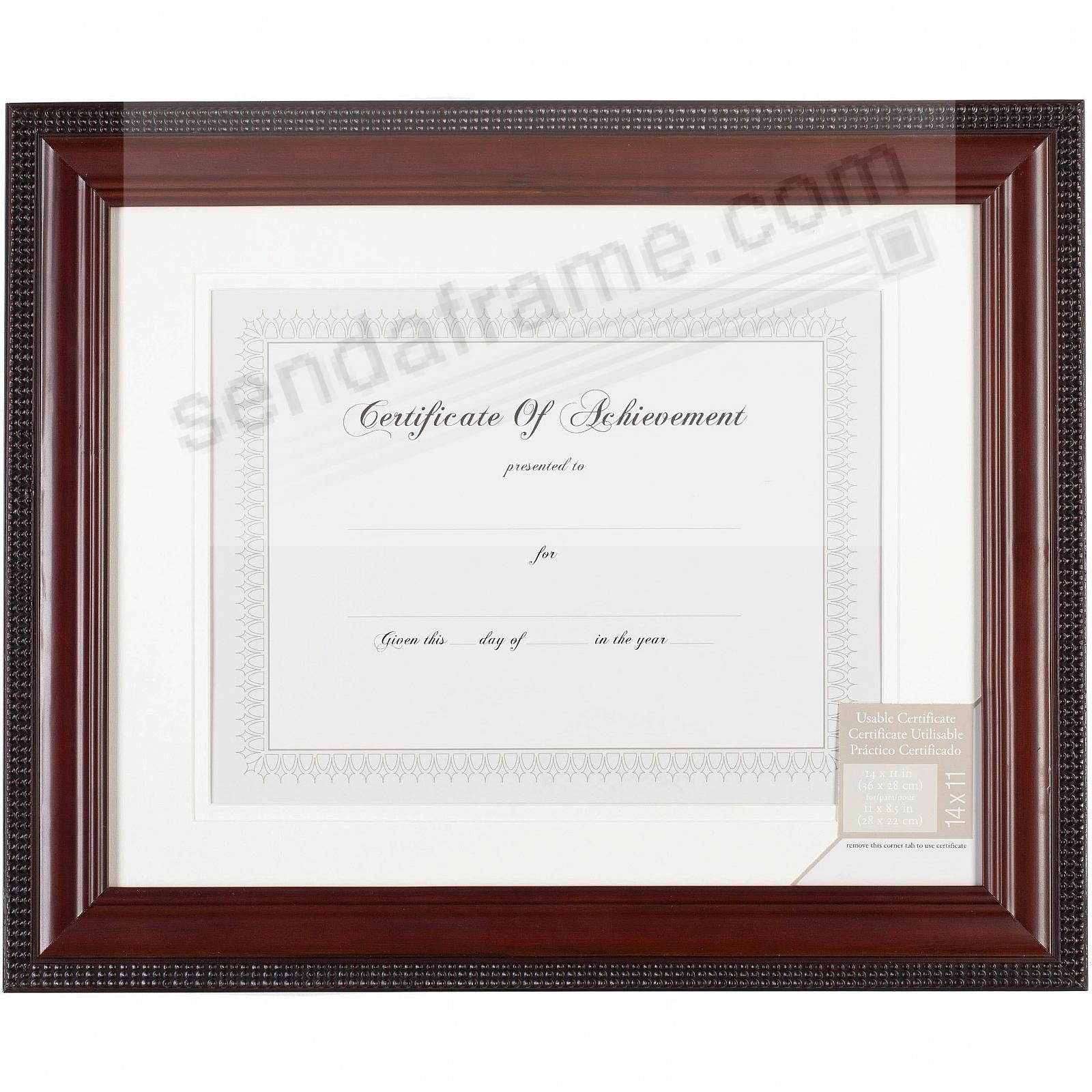 bead border mahogany finish matted 14x11 11x8frac12 certificate frame by gallery solutionsreg