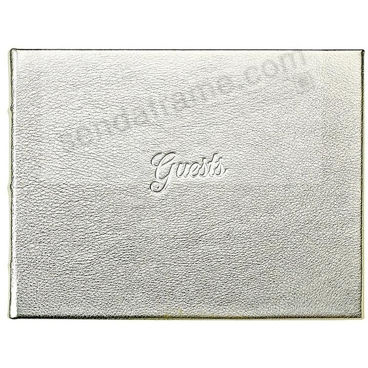 GUEST BOOK in Elegant Calfskin WHITE GOLD Leather for a lasting record by Graphic Image®