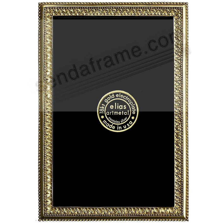 BEADED ACANTHUS 18kt Gold Vermeil over Fine Pewter 3x4 frame by Elias Artmetal®