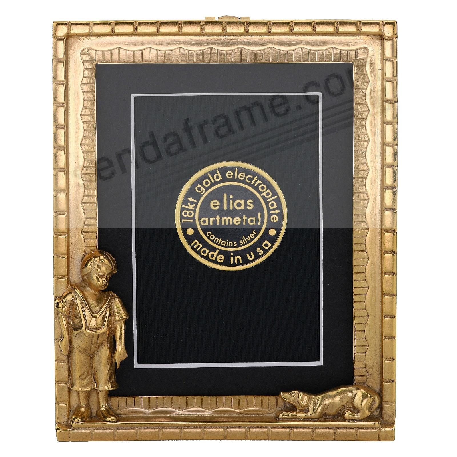 BOY AND DOG 18kt Gold Vermeil Over Pewter 3x4 frame by Elias Artmetal®