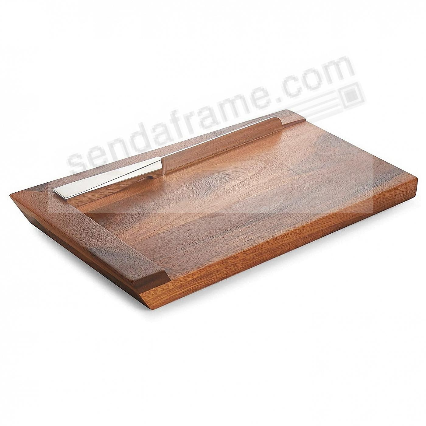 The GEO CHALLAH BREAD BOARD w/Knife - Wood/Stainless Steel by Nambe®