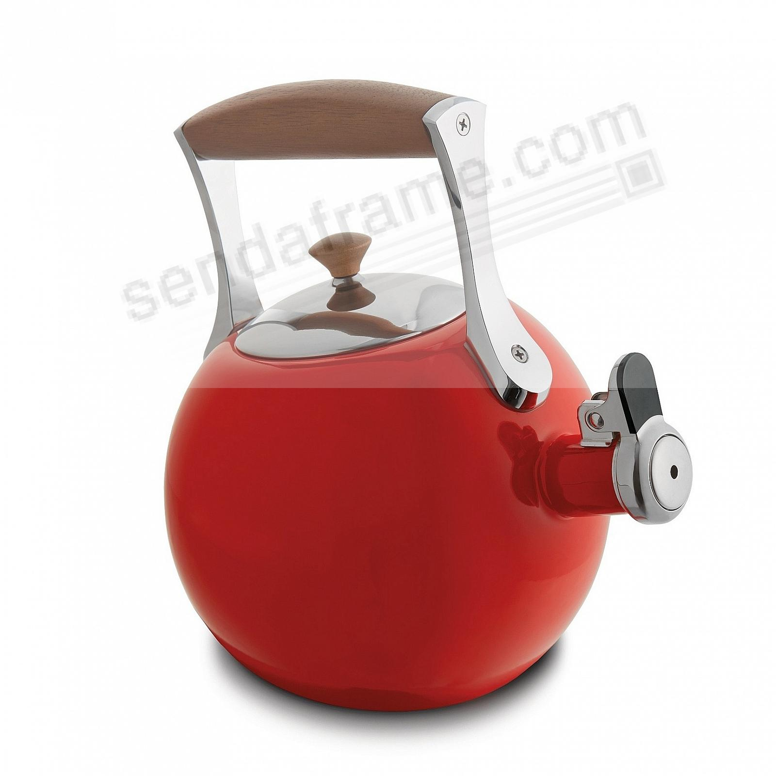 The Original MERIDIAN WHISTLING TEA KETTLE - RED - crafted by Nambe®