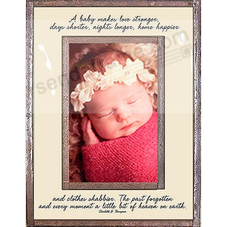 A BABY MAKES LOVE STRONGER... Copper + Clear Glass 4x6 frame by Ben's Garden®