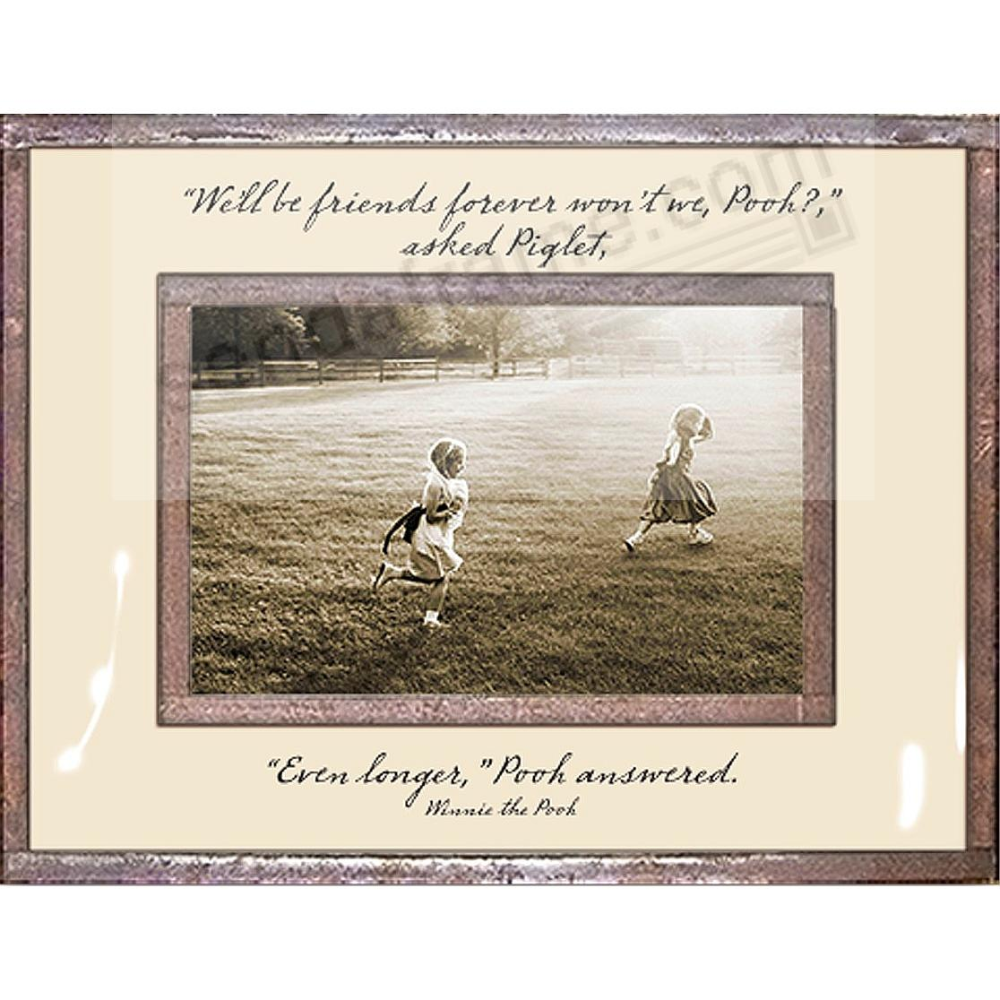 FRIENDS FOREVER?...EVEN LONGER - WINNIE THE POOH Copper + Clear Glass 6x4 Frame by Ben's Garden®