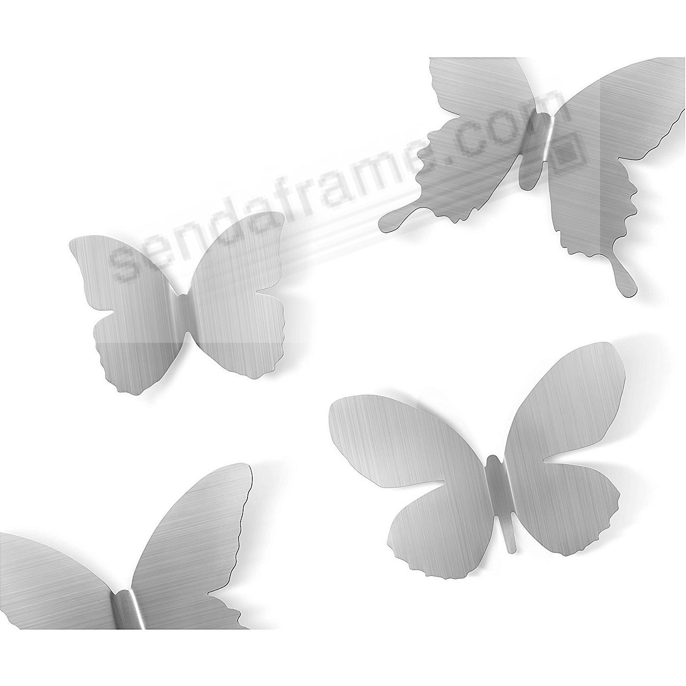 The Original MARIPOSA BUTTERFLY Stick-On NICKEL Wall Decor by Umbra® Set of 9