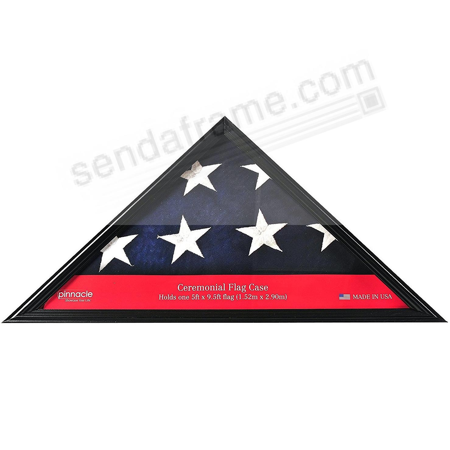 Ceremonial Large Black Flag Case 25x12x3 hardwood frame by Pinnacle®