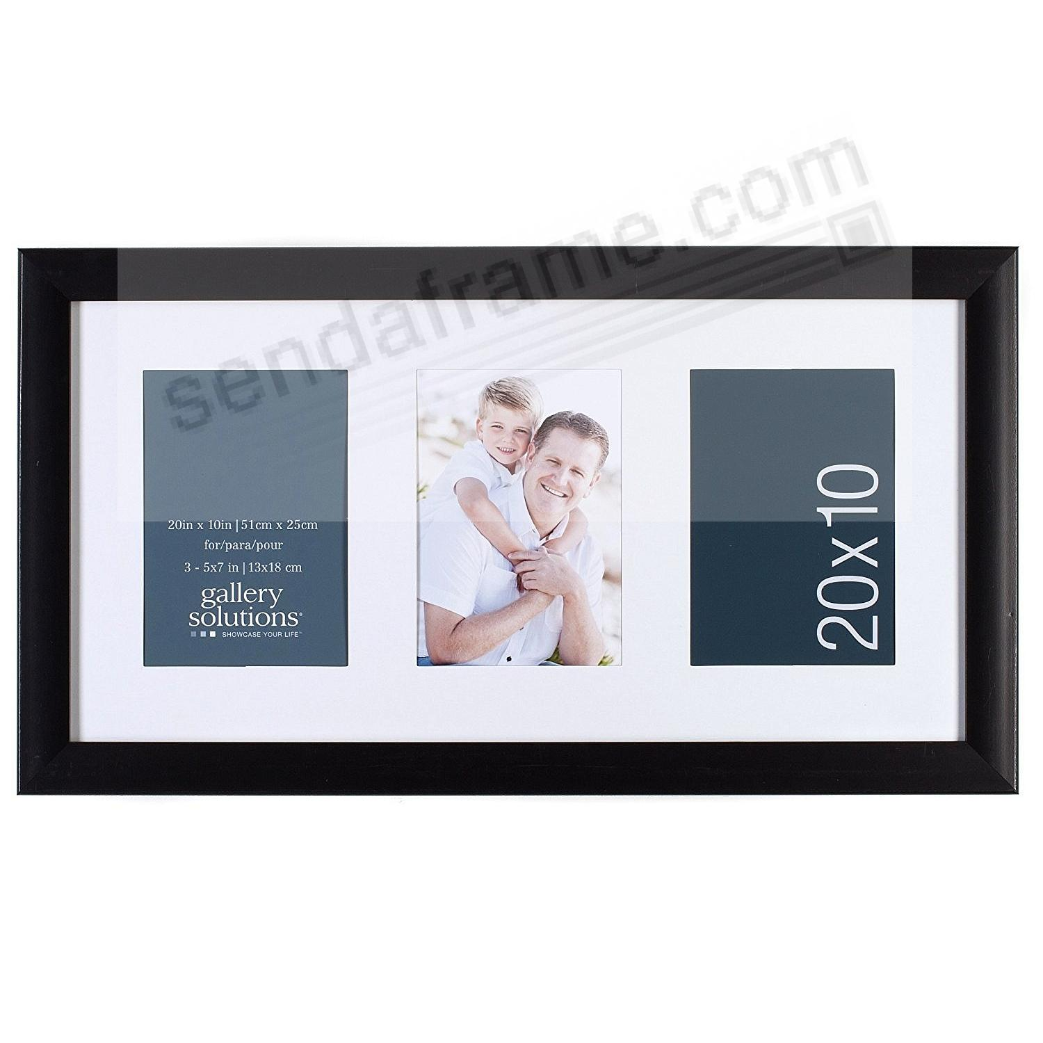 Glossy-Black 3-Opening 5x7 Collage Matted frame by Gallery Solutions™