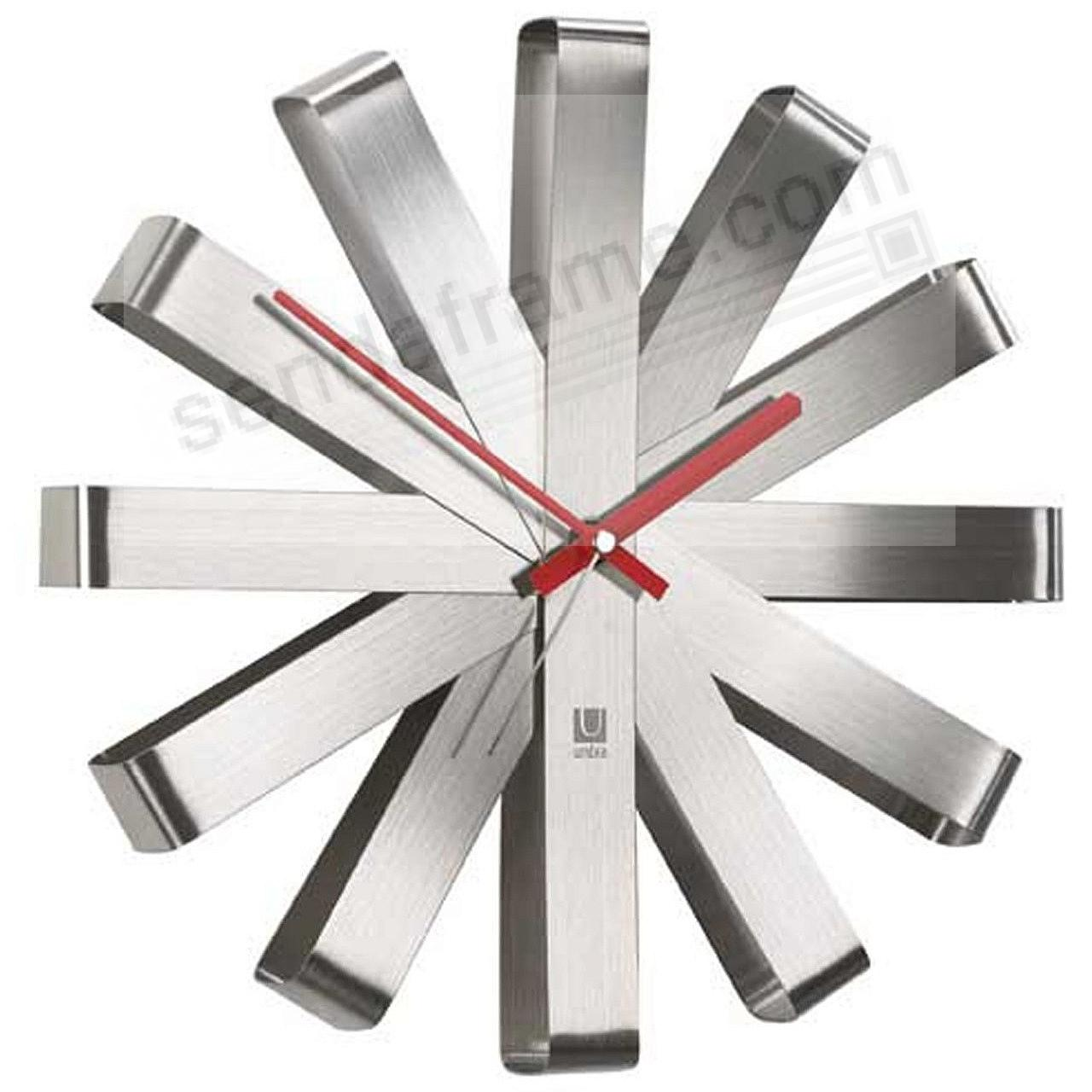 The original RIBBON WALL CLOCK in STEEL/Red by Umbra®