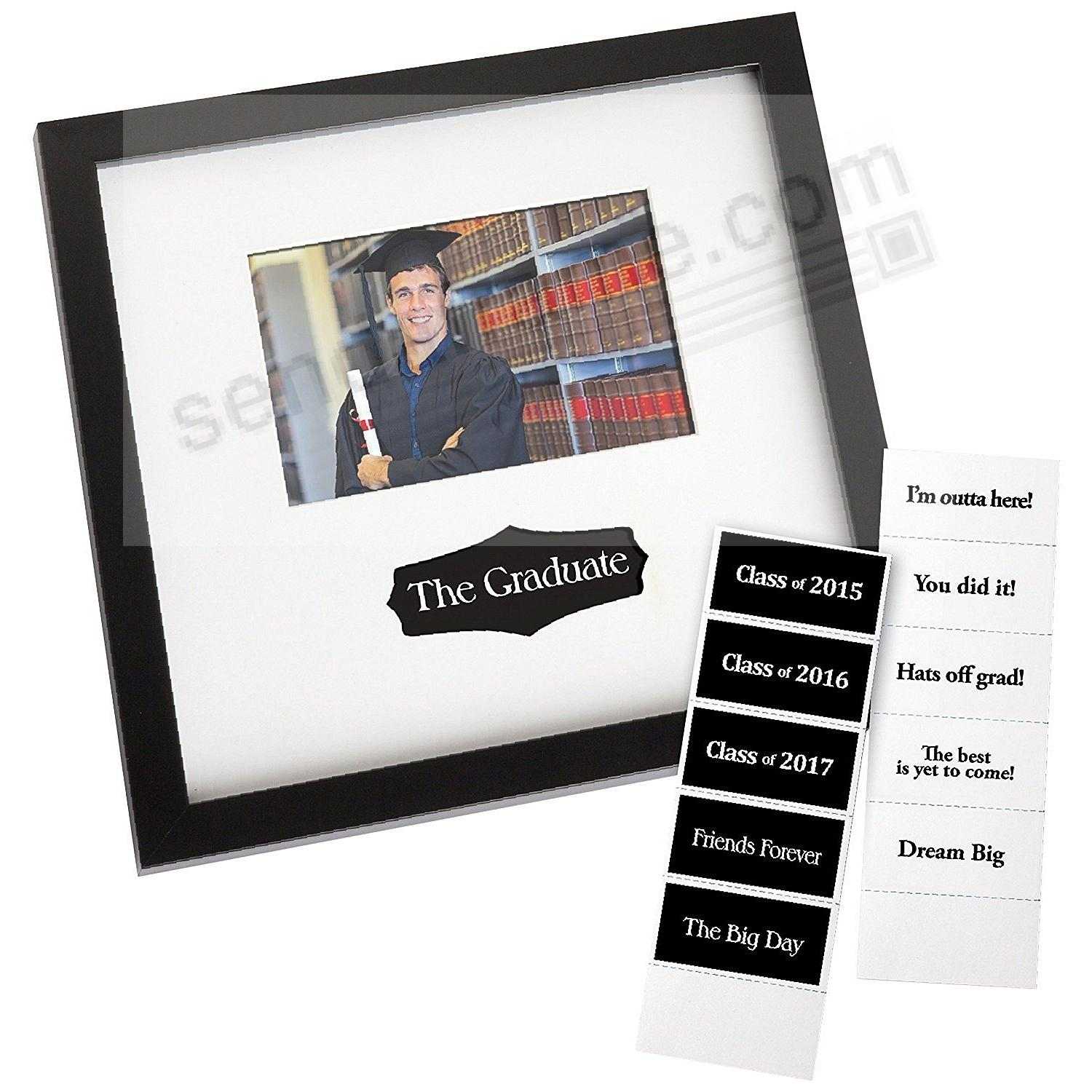 Graduation Autograph Frame in Black Finish with Interchangeable Messages by Prinz®