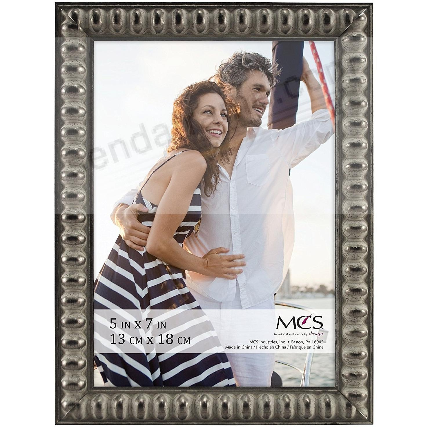 THIN BEAD Wood Pewter frame 5x7 by MCS®