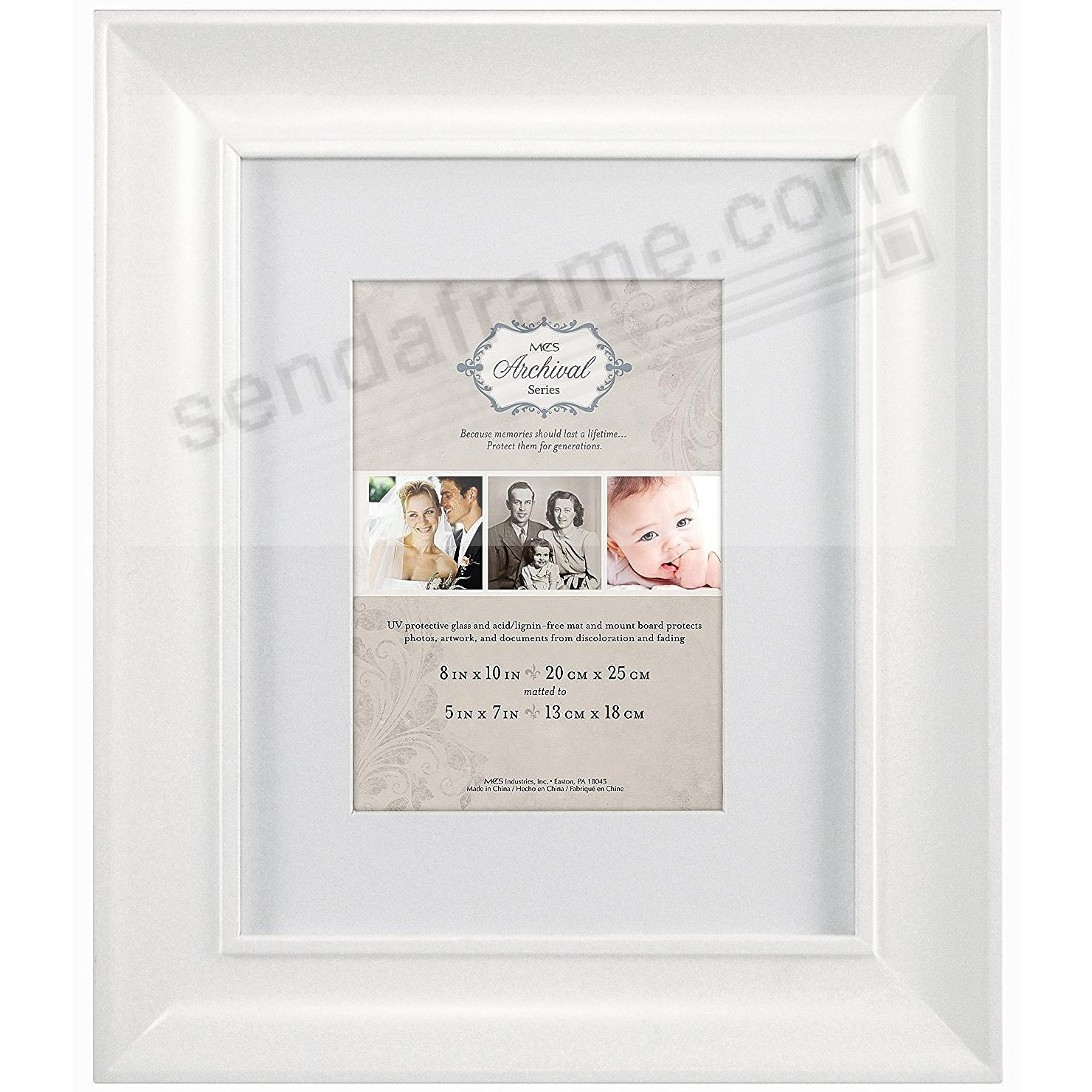 White Archival Matted Wood Frame 8x105x7 By Mcs Picture Frames