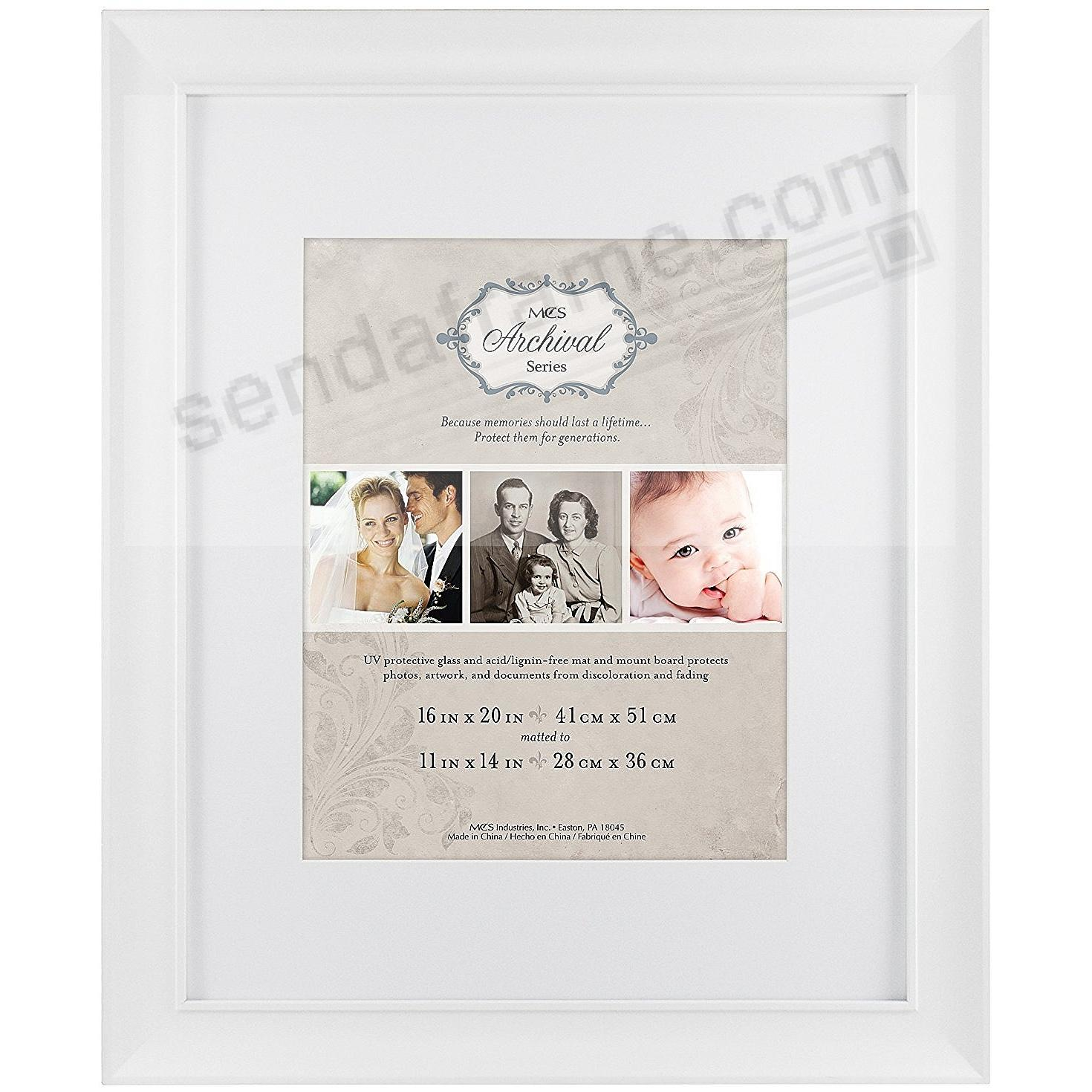 White ARCHIVAL Matted Wood frame 16x20/11x14 by MCS® - Picture ...