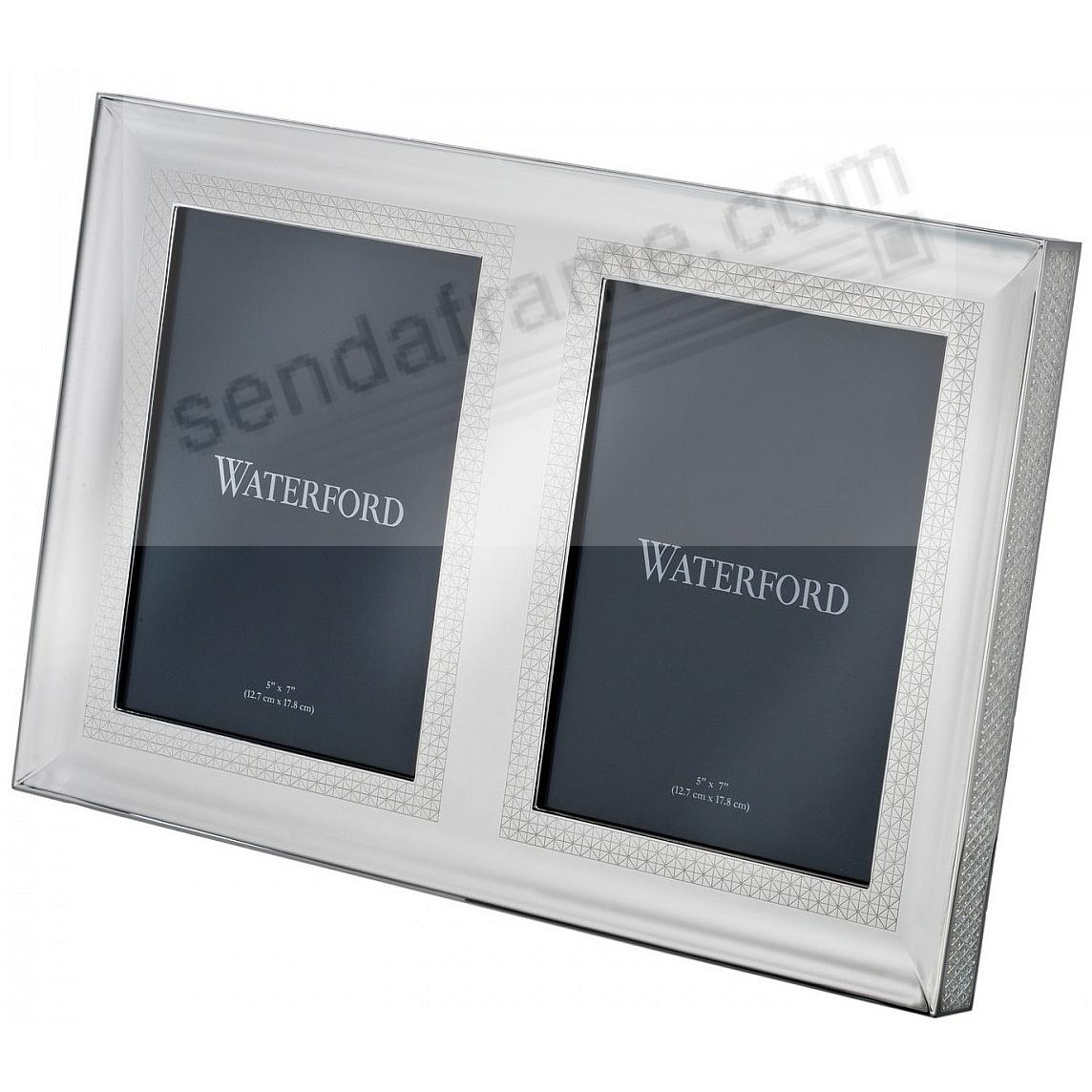 LISMORE DIAMOND patterned 5x7-Double Silver INVITATION frame by Waterford®