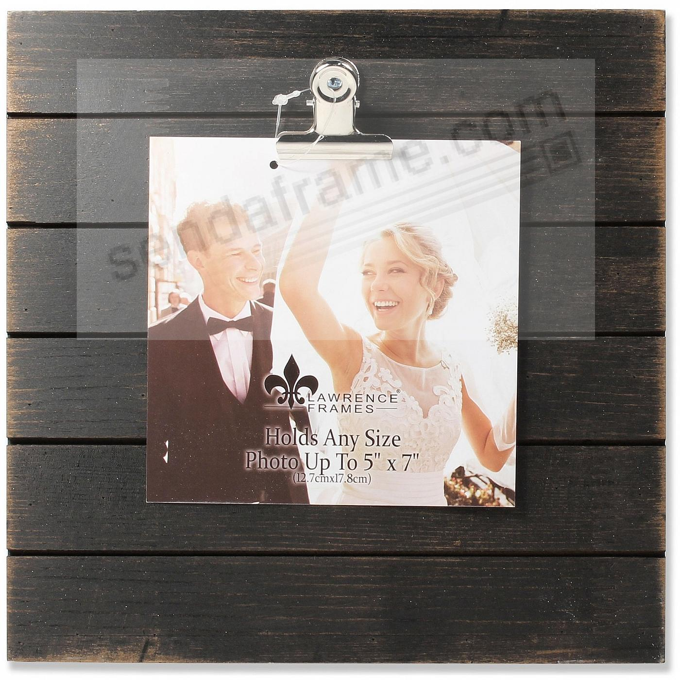 9x9 Weathered Black Woodlands Clip-Board Picture Frame - Holds Up to 5x7 Photo by Lawrence®