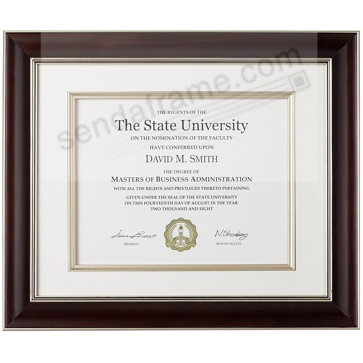 WALNUT/Champagne TUSCAN Wood Certificate frame Matted 15x12/11x8½ by ARTCARE®