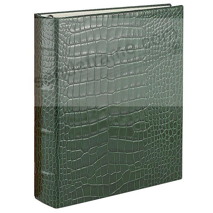 Bottle-Green Croco-Leather 2-up Clear Pocket 4-ring Album<br>by Graphic Image&trade;