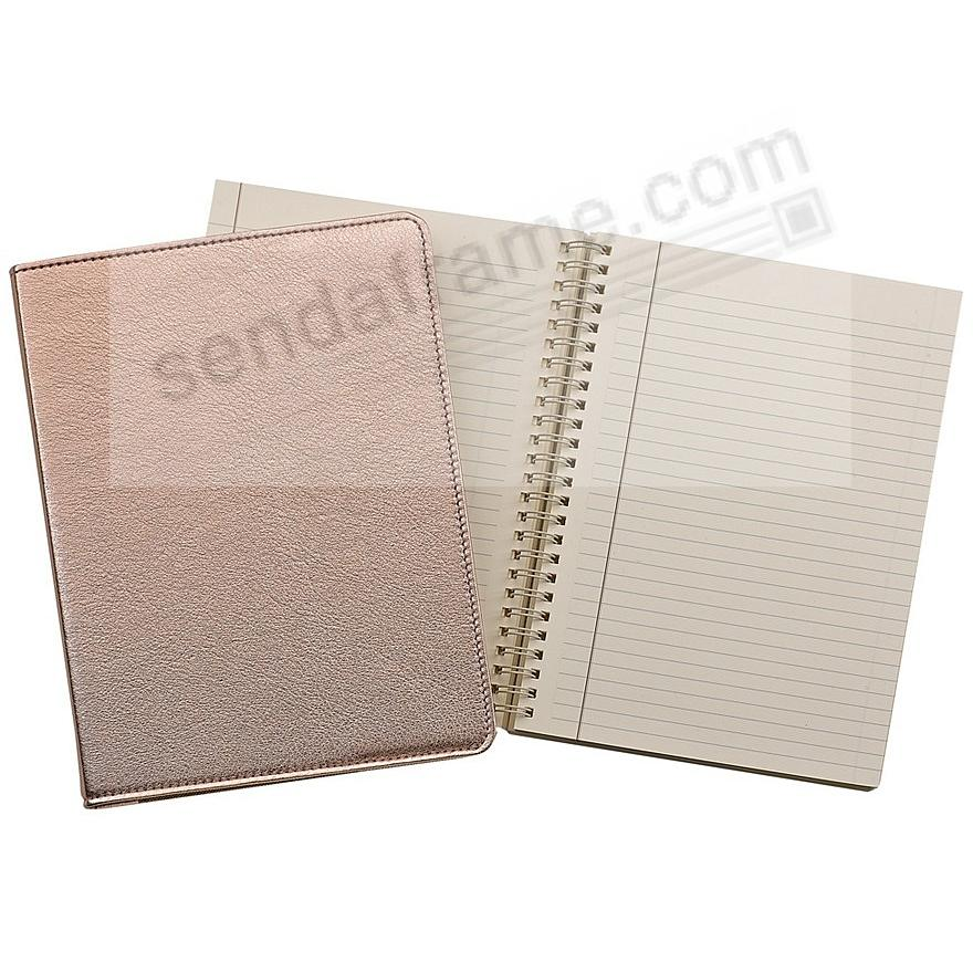 Wire-O-Notebook 9in METALLIC ROSE-GOLD Fine Leather by Graphic Image™