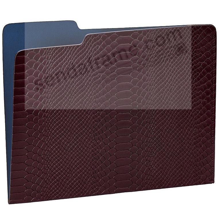 The Carlo File Folder Burgundynavy Embossed Python Leather By