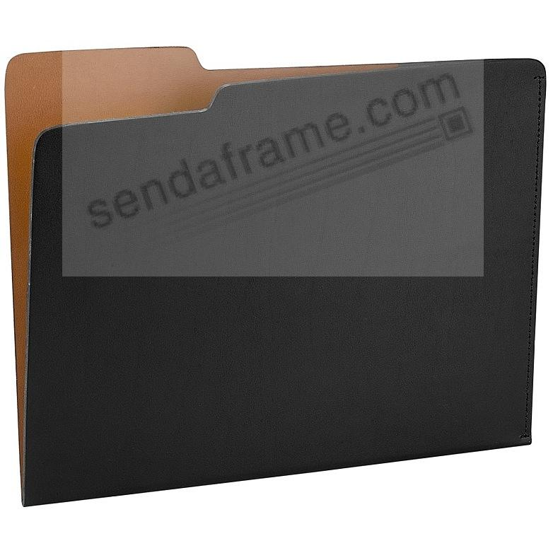 The CARLO File Folder BLACK/Tan Eco-Leather by Graphic Image®