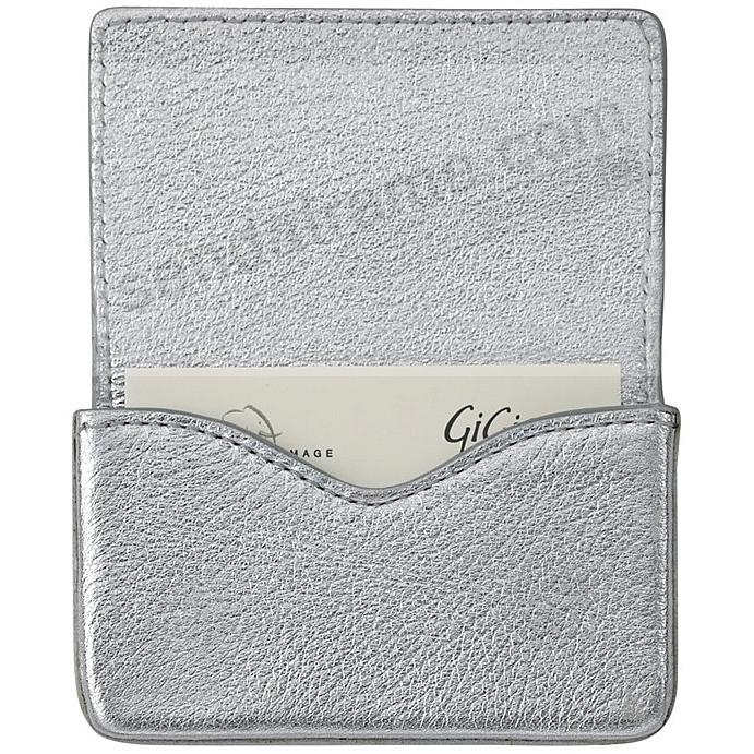 CARD CASE (HARD) in METALLIC SILVER Goatskin Leather by Graphic Image®