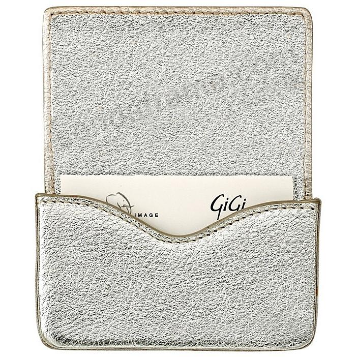 MAGNETIC CARD CASE (HARD) in METALLIC WHITE-GOLD Goatskin Leather by Graphic Image®