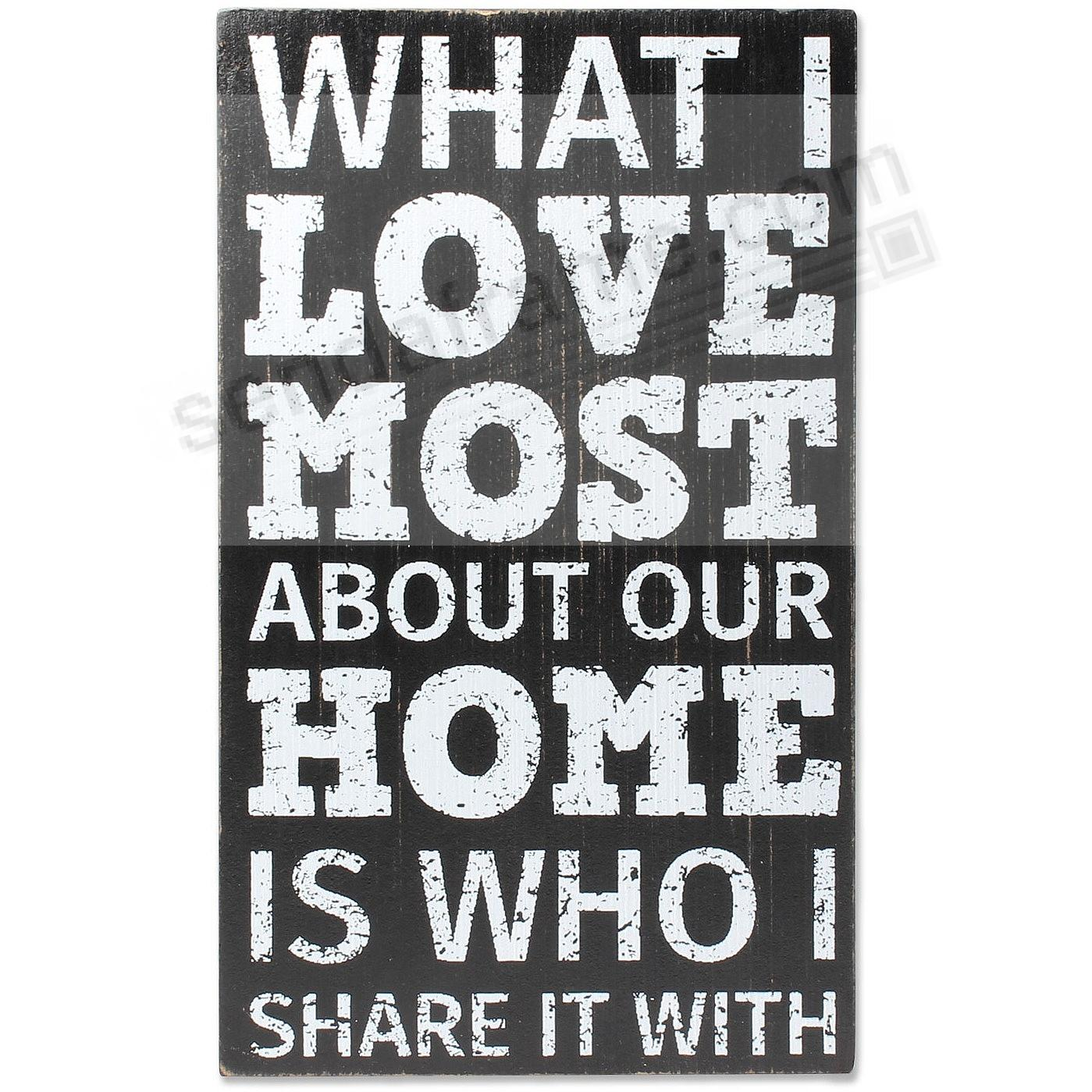 WHAT I LOVE MOST ABOUT OUR HOME... Wood 6X10 Box Sign by Lawrence®